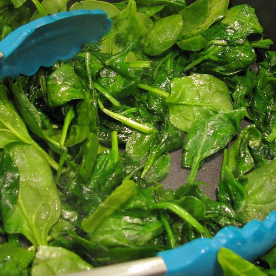 Veggie Lasagna - Wilting Spinach