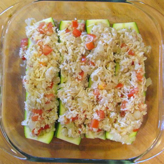 Zucchini Boats - prepared