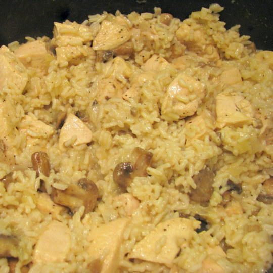 Skillet Chicken and Rice - Cooked