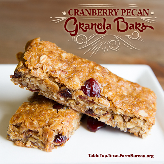 Cranberry Pecan Granola Bars - Texas Farm Bureau - Table Top