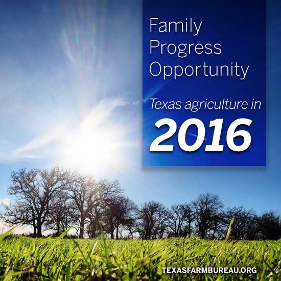 Family, progress and opportunity are in the future for Texas Agriculture in 2016