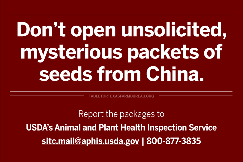 Don't open packets of mystery seeds from overseas!