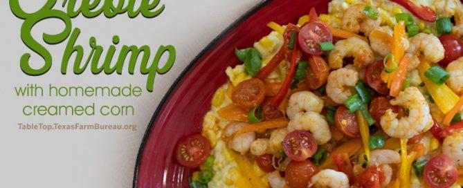 Creole shrimp with homemade creamed corn