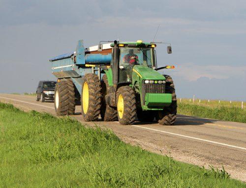 Harvest season means large farm equipment on the roads