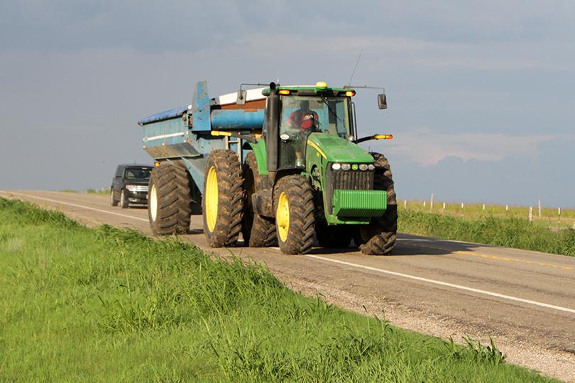 you meet farm equipment on the road: